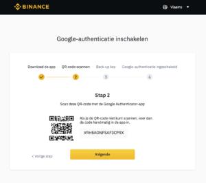 Binance account maken Google Authenticator QR-code