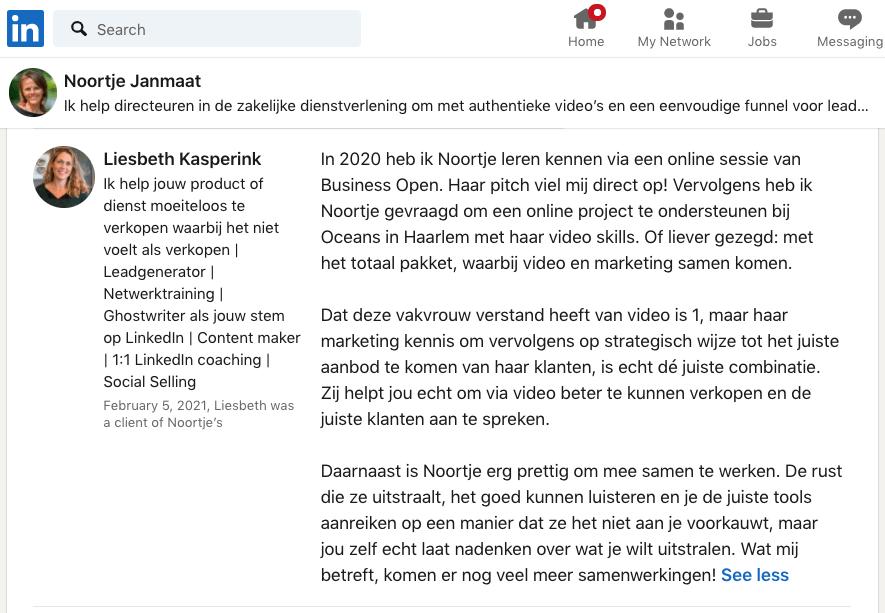 Testimonial Liesbeth Kasperink over Noortje Janmaat videomarketing